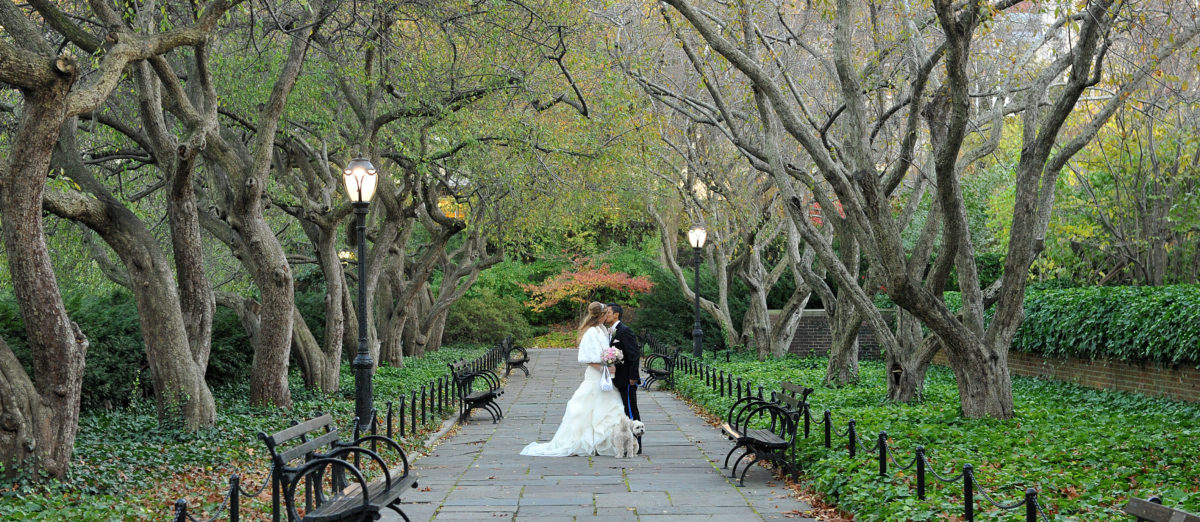 Bride and Groom in the Crabapple trees - Conservatory Gardens, Central Park