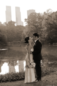 The Pond, Central Park, sepia portrait Bride and Groom