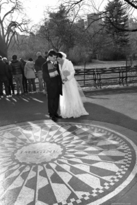 Strawberry Fields, Black and White photo Bride and Groom in Winter