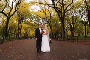 Poet's Walk in Autumn - Bride and Groom, Bethesda Terrace