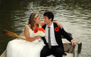 Central Park Boathouse - Bride and Groom on Lake