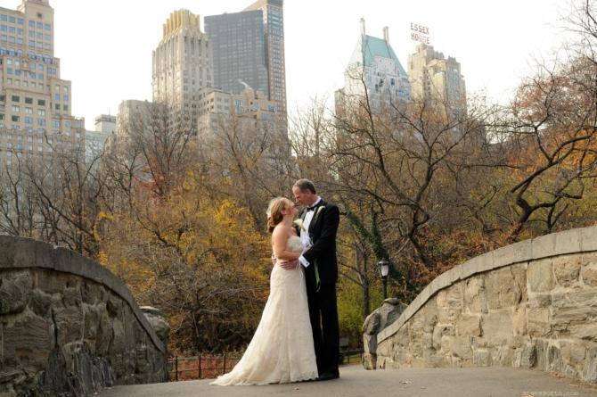 Bride and Groom on Gapstow by: Kira Yustak