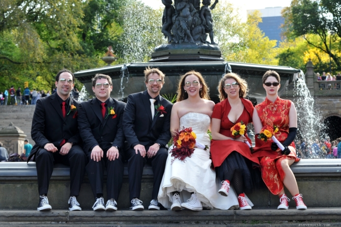 Bridal Party casually on the Fountain by: Kira Yustak